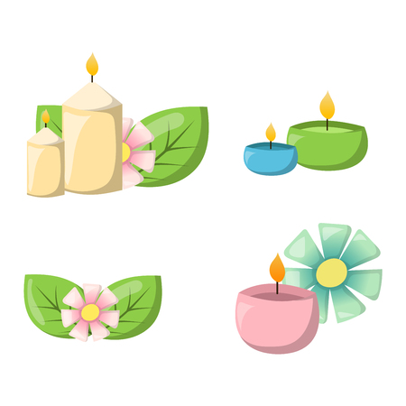 Illustration pour Aroma candle isolated. Spa aromatherapy aroma candle and relaxation aroma candle. Beauty flame relax care aroma candle. Decoration health therapy aroma candle treatment bath natural care. - image libre de droit