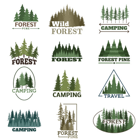 Illustration pour Hand drawn forest logo badge set. Retro collection of outdoor wildlife adventure company. Camping adventure labels. Old style elements green nature vector. - image libre de droit
