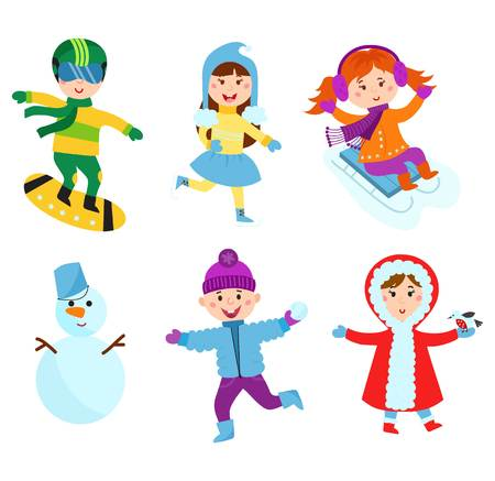 Christmas kids playing winter games. Sledding girl dresses up Christmas tree, boy makes snow man, children playing snowballs. Cartoon New Year winter holidays.