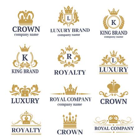 Ilustración de Luxury boutique calligraphy logo best selected collection hotel brand identity and crest heraldry stamp premium insignia design crown vector illustration. - Imagen libre de derechos
