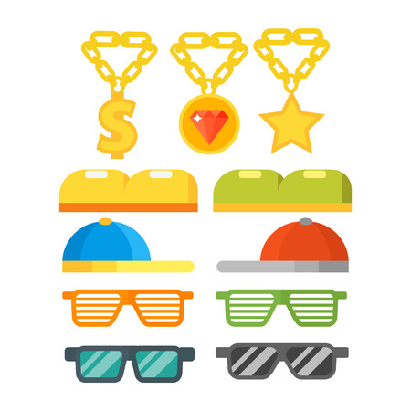 Fashion gold jewelry sunglasses retro accessory vintage plastic frame eyeglasses vector illustration.