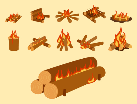 Isolated illustration of campfire logs burning bonfire and firewood stack vector