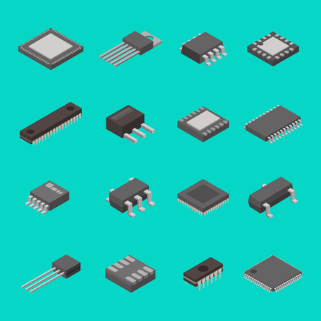 Illustration pour Isolated microchip semiconductor computer electronic components isometric icons vector illustration - image libre de droit