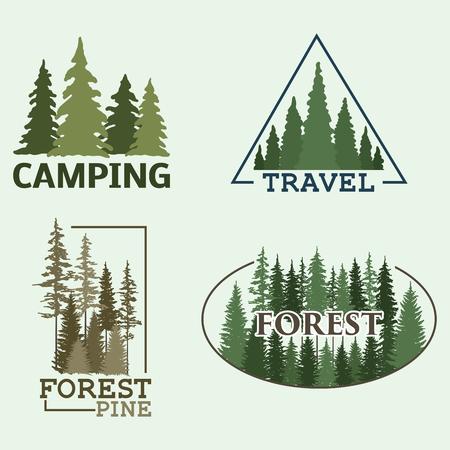 Illustration pour Tree outdoor travel green silhouette forest badge coniferous natural logo badge tops pine spruce vector. - image libre de droit