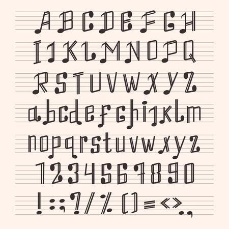 Illustration pour Musical decorative notes alphabet font hand mark music score abc typography glyph paper book vector illustration - image libre de droit