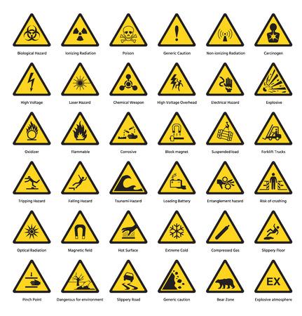 Ilustración de Set of triangle yellow warning sign hazard dander attention symbols chemical flammable security radiation caution icon vector illustration. - Imagen libre de derechos