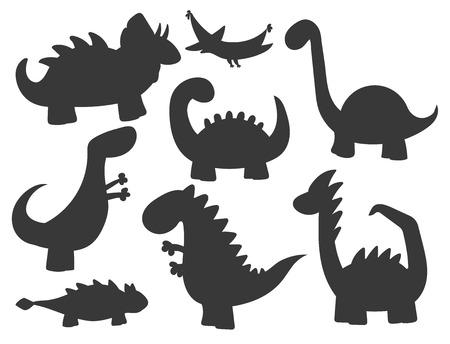 Illustration for Cartoon dinosaurs vector illustration monster silhouette animal dino prehistoric character reptile predator jurassic fantasy dragon - Royalty Free Image