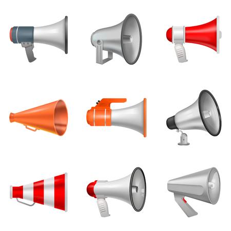 Illustration pour Megaphone vector bullhorn loudspeaker or announce and loud voice in speaker or announcement in horn illustration isolated on white background - image libre de droit