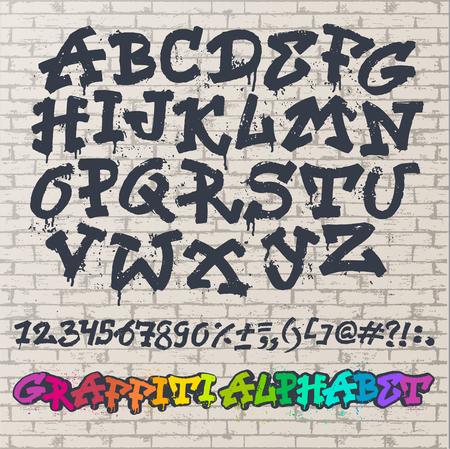Alphabet graffiti font in brush stroke typography illustration isolated on brick wall background