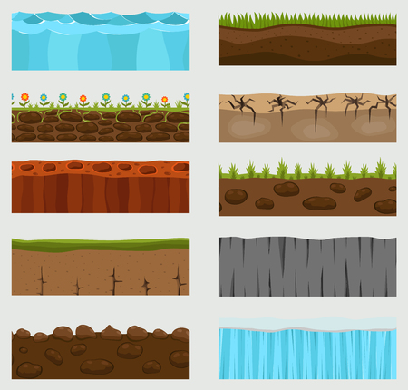 Illustration for Illustration of cross section vector ground slice isolated on white background. Some ground-slices piece nature cross outdoor. Ecology underground groundslice - Royalty Free Image