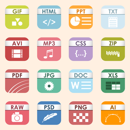 Illustration pour Vector square file types and formats labels icon set. File type format icons presentation document symbol. Audio extension icons graphic multimedia sign application software folder. - image libre de droit