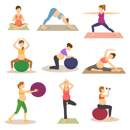 Illustration pour Fitness routine for pregnant woman vector illustration - image libre de droit