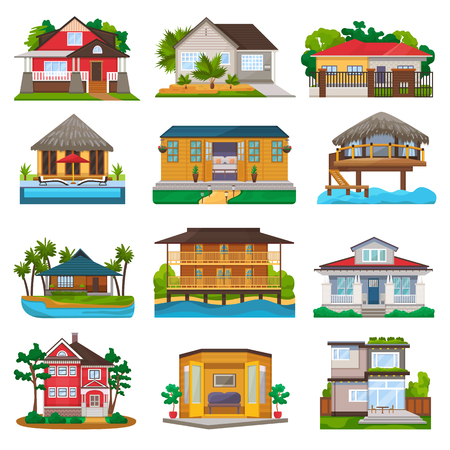 Illustration pour Villa vector facade of house building and tropical resort hotel on ocean beach in paradise illustration set of bungalow in village isolated on white background - image libre de droit