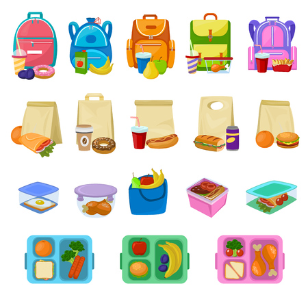 Vektor für Lunch box vector school lunchbox with healthy food fruits or vegetables boxed in kids container illustration set of packed meal sausages or bread isolated on white background - Lizenzfreies Bild