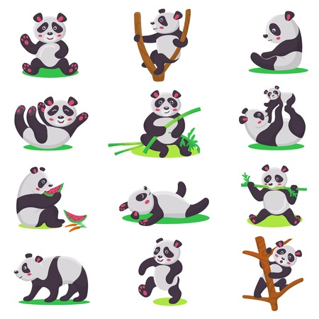 Illustration pour Panda kid vector bearcat character or chinese bear child playing or eating bamboo illustration set of cartoon giant panda isolated on white background - image libre de droit