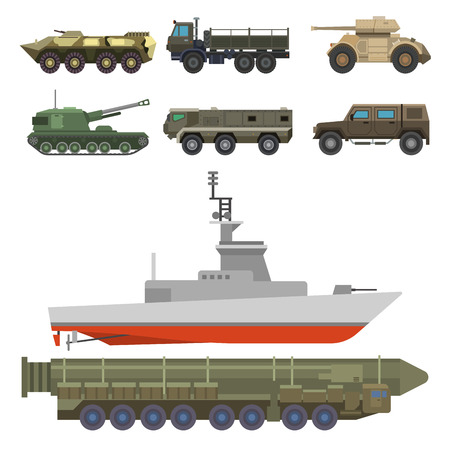 Military transport vector vehicle technic army war tanks and industry armor defense transportation weapon illustration.