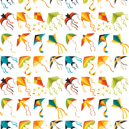 Illustration for Flying kite snake serpent dragon kids toy colorful outdoor summer activity seamless pattern background vector illustration - Royalty Free Image