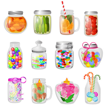 Illustration for Glass jar vector jam or sweet jelly in mason glassware with lid or cover for canning and preserving illustration glassful set of cuppingglass with conservation isolated on white background. - Royalty Free Image