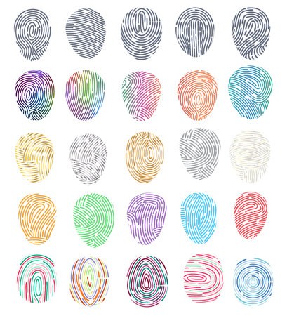 Illustration pour Fingerprint vector fingerprinting identity with fingertip identification illustration set of fingering print and security thumbprint isolated on white background. - image libre de droit