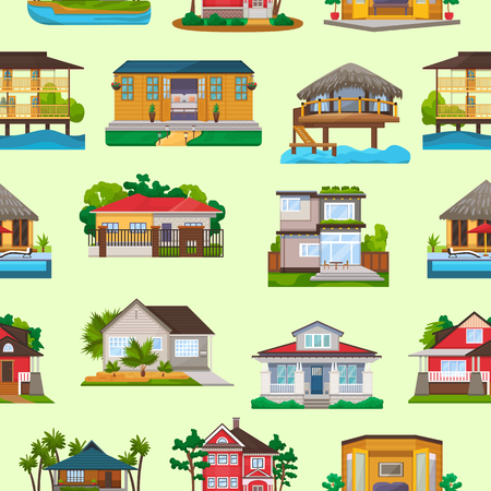 Illustration pour Villa vector facade of house building and tropical resort hotel on ocean beach in paradise illustration set of bungalow in village seamless pattern background. - image libre de droit