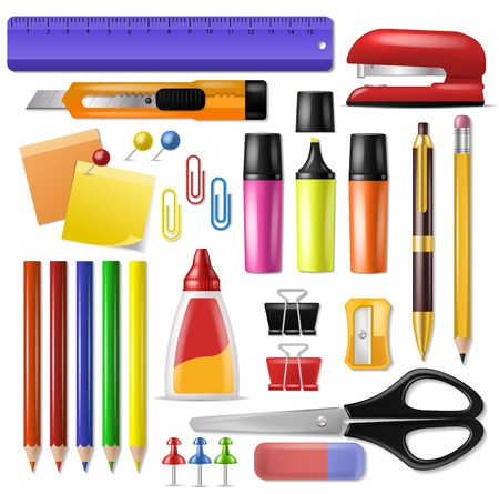 Ilustración de Office supply vector stationery school tools icons and accessories of education assortment pencil marker pen illustration set isolated on white background. - Imagen libre de derechos