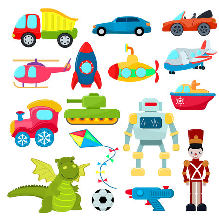Kids toys vector cartoon games helicopter or ship submarine for children and playing with car or train illustration boyish set of robot and dinosaur in playroom isolated on white background.