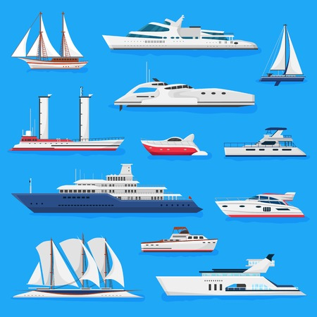 Ilustración de Ships vector boats or cruise travelling in ocean or sea and shipping transportation illustration marine set of nautical sailboat yachting or speedboat isolated on background. - Imagen libre de derechos