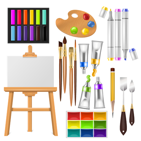 Illustration pour Artist tools vector watercolor with paintbrushes palette and color paints for artwork in art studio illustration artistic painting set brushes or marker pen isolated on white background. - image libre de droit