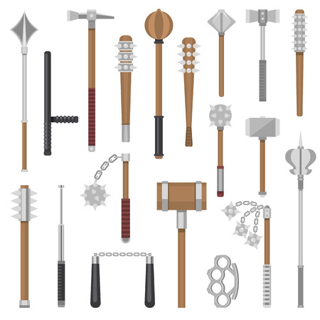 Illustration pour Medieval weapons vector ancient protection warrior and antique metal hammer illustration weaponry set of flail-weapon and armour mace equipment nunchaku knuckles isolated on white background - image libre de droit