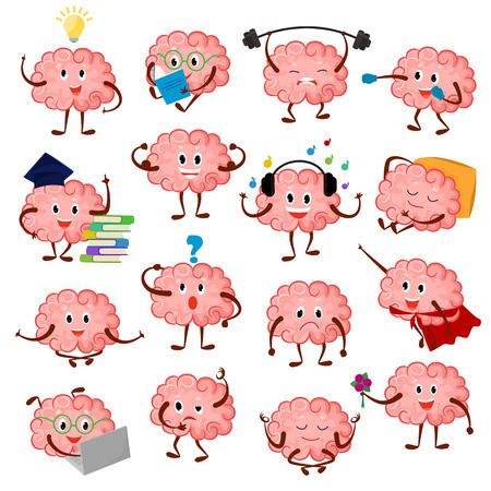 Illustration pour Brain emotion vector cartoon brainy character expression emoticon and intelligence emoji studying illustration brainstorming set of businessman  isolated on white background - image libre de droit