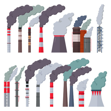 Illustration pour Industry factory vector industrial chimney pollution with smoke in environment illustration set of chimneyed pipe factory with toxic air isolated on white background - image libre de droit