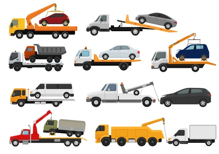 Illustration pour Tow truck vector towing car trucking vehicle transportation towage help on road illustration set of towed auto transport isolated on white background. - image libre de droit