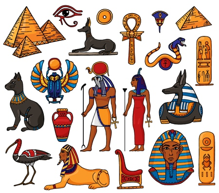 Illustration pour Egyptian vector pharaoh character ancient man woman god ra pyramid sphinx cat statue of Egypt culture historical illustration set of archeology collection african vase isolated on white background. - image libre de droit