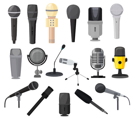 Illustrazione per Microphone vector microphones for audio podcast broadcast or music record technology set of broadcasting concert equipment illustration isolated on white background. - Immagini Royalty Free