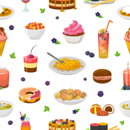 Food vector bluish cake or cupcake with blueberry and sweet dessert with bluish drinks illustration turquoise set of aquamarine donut or blueness ice cream seamless pattern background.