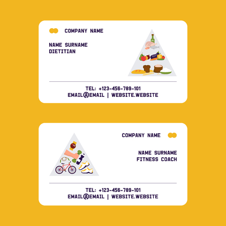 Illustration pour Dietitian, fitness coach set of business cards vector illustration. Obesity cincept. Healthy diet nutrition. Consultation, weight loss, natural vegetables food and physical exercises. Sport equipment. - image libre de droit