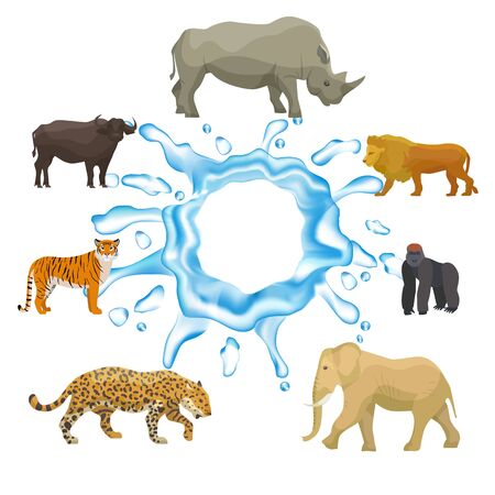 Illustration pour Wild animals with splash of water isolated on white background vector collection. Tiger, elephant, hippo and yak, lion with gorilla. In need for pure water wild animals protection. - image libre de droit