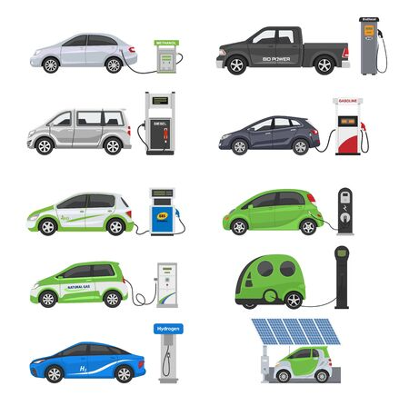 Illustration pour Fuel alternative vehicle vector team-car or gas-truck and solar-van or gasoline electricity station illustration set of bio-ethanol and hydrogen electric-car, isolated on white background - image libre de droit
