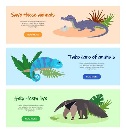 Illustration pour Save disappearing wild animals concept vector illustration. Website pages design banners set. Protecting nature, wildlife, fauna. Anteater, crocodile, chameleon animals. - image libre de droit