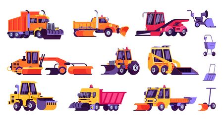 Illustration pour Snow machines, snow removal cleaning cars, equipment vector illustration isolated set. Tractor, dump truck, loader, plow and shovel machinery collection for seasonal winter cleaning snowy city street. - image libre de droit