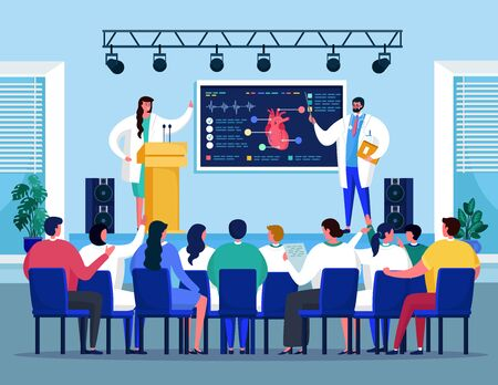 Illustration pour Medical seminar conference with doctors meeting on heart medicine healthcare treatment vector illustration. Meeting room for medics workshop presentation with people and doctor speaker. - image libre de droit