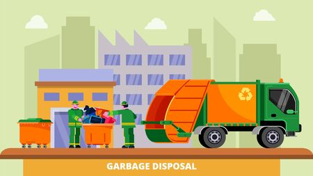 Illustration for Garbage disposal truck dustcart, dumpsters and two scavengers janitors people sorting and collecting trash can, vector illustration. Waste removal recycling concept. City buildings background. - Royalty Free Image