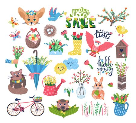 Illustration pour Cute spring set vector illustration. Cartoon flat blooming flowers, happy animal or bird characters in birdhouse, floral decorations, butterfly. Springtime Easter cuteness set icons isolated on white - image libre de droit