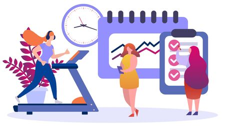 Illustration pour Nutrition and sport program for woman weight loss, vector illustration. Healthy food and lifestyle concept, balanced cartoon character. Health diet plan from nutritionist, body healthcare. - image libre de droit