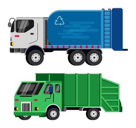 Illustration pour Garbage truck vector trash vehicle transportation illustration recycling waste clean service van car industry cleaning rubbish truck recycle container isolated on white background. - image libre de droit