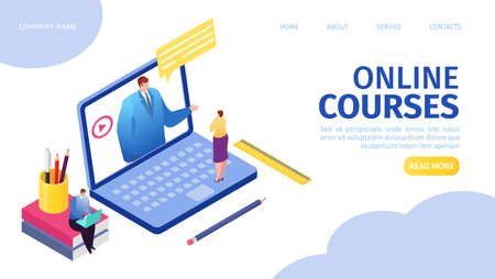 Illustration for Online courses e-learning for people on distance by internet landing webpage vector illustration. Distant education, man teacher on laptop screen, woman watching online course. Web tutorials concept. - Royalty Free Image