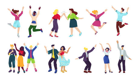 Illustration for Happy young people isoated on white set of vector illustrations. Happiness, freedom, motion, diversity and people together concept. Group of happy smiling men and women jumping, having fun poses. - Royalty Free Image