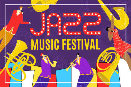 Illustration pour Jazz festival with saxophone instrument, jazz singer and saxophonist jazzman playing music poster, musician vector illustration. Billbord of musical show, event or acoustic concert. - image libre de droit