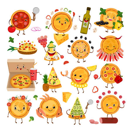 Illustration for Pizza characters funny elements for pizzeria set, vector illustration. Delicious dinner with tasty pepperoni snack in box. - Royalty Free Image