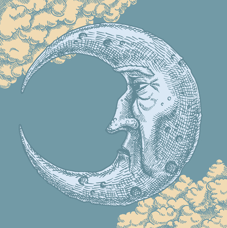 Foto de Crescent Moon Face Vintage Drawing. A vector freehand ink drawing of the man in the moon in vintage style. With clouds in the background of a moonlit sky. Crescent shaped face shows texture and craters using cross-hatch technique. - Imagen libre de derechos